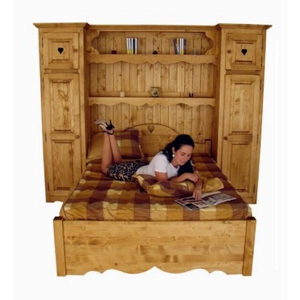 lit pont bois massif. Black Bedroom Furniture Sets. Home Design Ideas