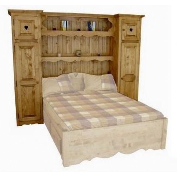 lit pont grande largeur bois massif. Black Bedroom Furniture Sets. Home Design Ideas