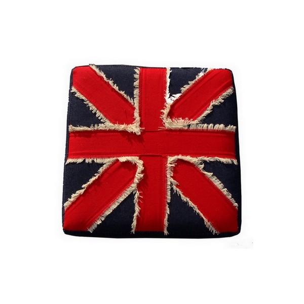 pouf carre tissu drapeau anglais