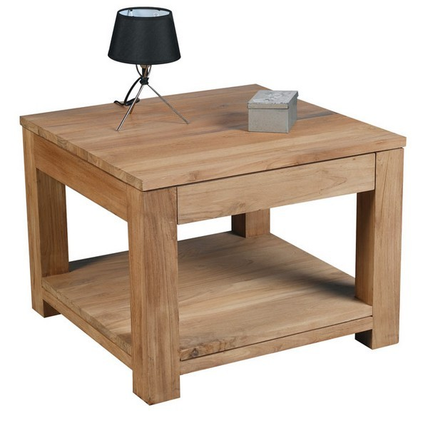 Table basse carree acacia for Table basse tiroir