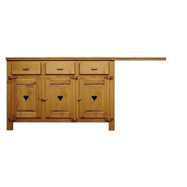 element bas trois portes trois tiroirs emplacement lave vaisselle bois massif coeur. Black Bedroom Furniture Sets. Home Design Ideas