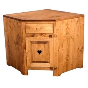 Element bas angle une porte faux tiroir bois massif for Tiroir angle cuisine