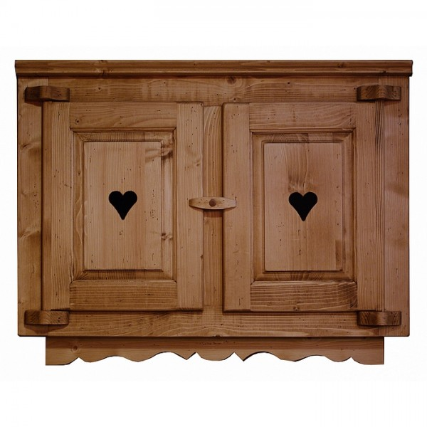 element cuisine haut deux portes bois avec coeur et frise. Black Bedroom Furniture Sets. Home Design Ideas