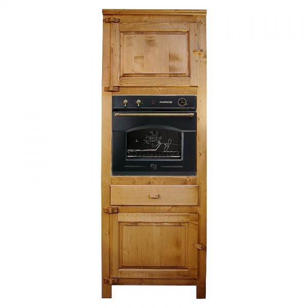 Colonne four cuisine deux porte un tiroir bois massif for Colonne cuisine bois