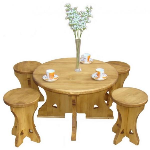 table basse ronde bois massif avec tabourets incrustation. Black Bedroom Furniture Sets. Home Design Ideas