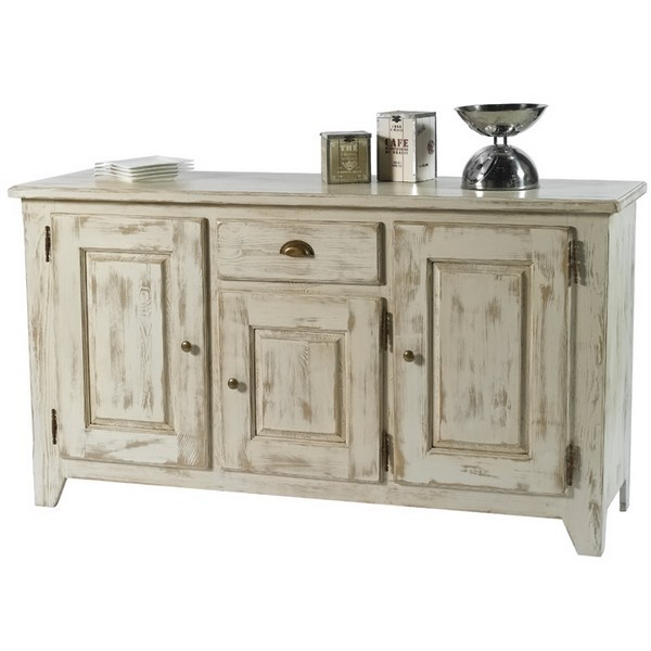 Buffet 3 portes 1 tiroirs sol a casita - Buffet bois blanc vieilli ...