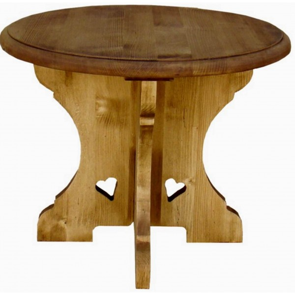 Table basse ronde bois massif montagnarde - Table basse ronde de salon ...