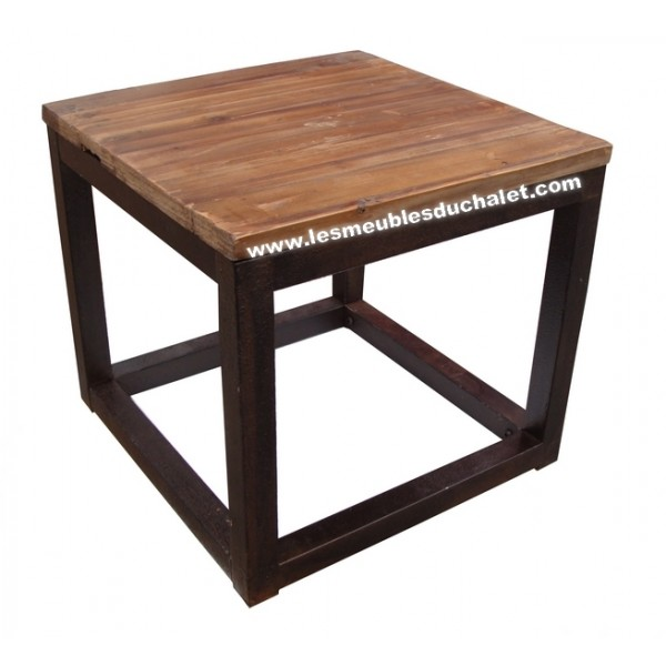 Table basse loft cross bois et fer carre casita les - Table basse carre bois ...