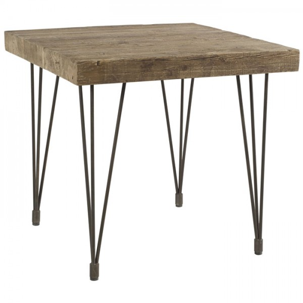 Table carr e 80x80 cm pin recycl motown casita - Table bois carree ...