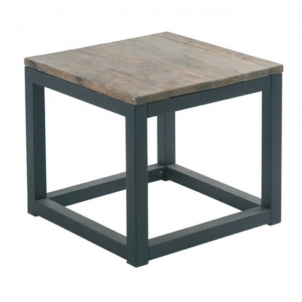 Table basse loft cross bois et fer carre casita les for Table basse en bois et fer