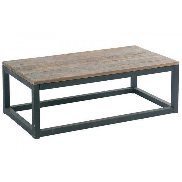 Table basse rectangulaire bois et fer cross par casita for Table basse bois et fer
