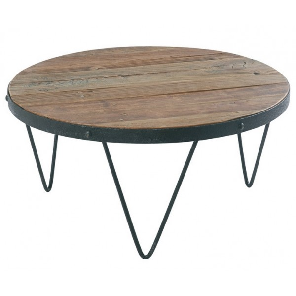 Table basse ronde loft cross bois et fer casita les for Table salon bois et fer