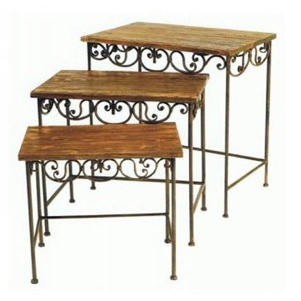 tables gigognes metal bois. Black Bedroom Furniture Sets. Home Design Ideas