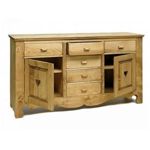 buffet avec tiroirs coeur de montagne les meubles du chalet. Black Bedroom Furniture Sets. Home Design Ideas