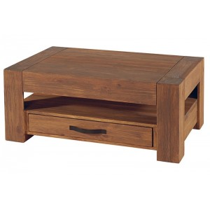 Table basse bois massif forme luge for Petites tables basses de salon