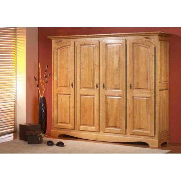 armoire ardeche chene massif 4 portes les meubles du chalet. Black Bedroom Furniture Sets. Home Design Ideas