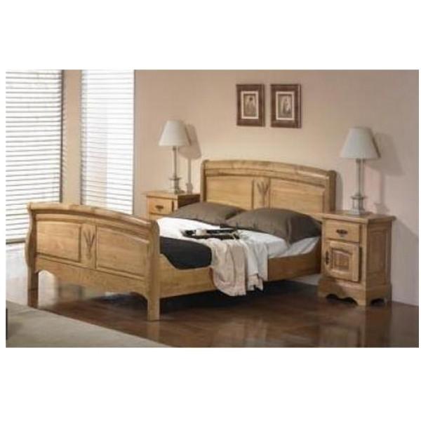 Chambre ardeche chene massif lit et 2 chevets les meubles du chalet - Chambre chene massif ...