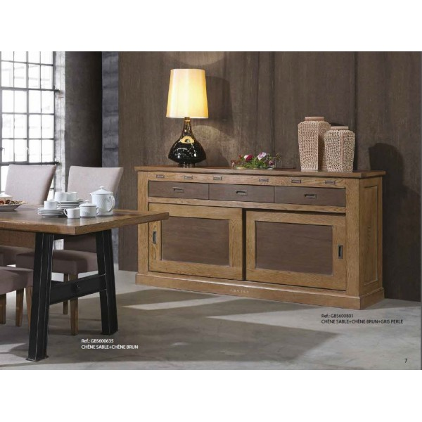 bahut 2 portes coulissantes 3 tiroirs gbs1948 zagas. Black Bedroom Furniture Sets. Home Design Ideas