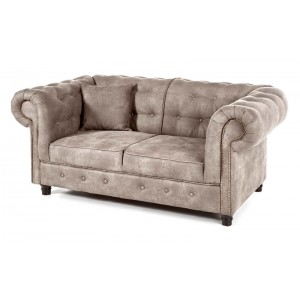 Canapé 2 places Chesterfield revêtement beige
