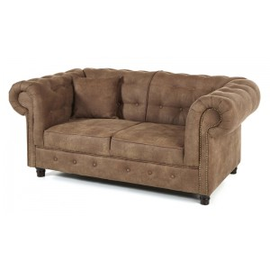 Canap 2 places chesterfield couleur taupe for Canape 2 couleurs