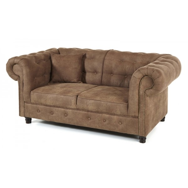 Canap 2 places chesterfield couleur taupe - Canape chesterfield 2 places ...