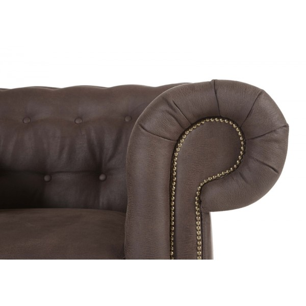 canap chesterfield 3 places rev tement marron. Black Bedroom Furniture Sets. Home Design Ideas