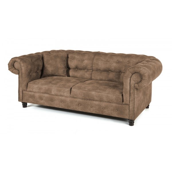Canap chesterfield 3 places rev tement couleur taupe - Acheter canape chesterfield ...