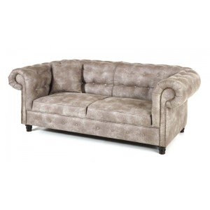 Salon complet chesterfield 3 2 places de couleur beige - Canape chesterfield beige ...