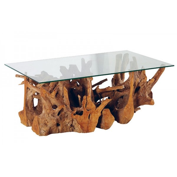 table basse racine de teck et plateau en verre roots casita. Black Bedroom Furniture Sets. Home Design Ideas