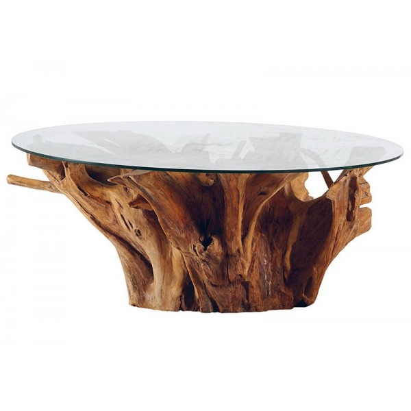 table basse ronde racine de teck et plateau en verre roots casita. Black Bedroom Furniture Sets. Home Design Ideas