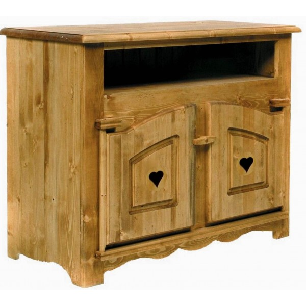 meuble tv 2 portes coeurs 1 niche coeur de montagne. Black Bedroom Furniture Sets. Home Design Ideas
