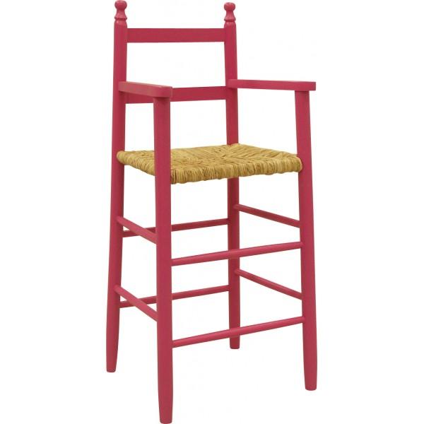 chaise haute enfant laqu e de couleur framboise. Black Bedroom Furniture Sets. Home Design Ideas