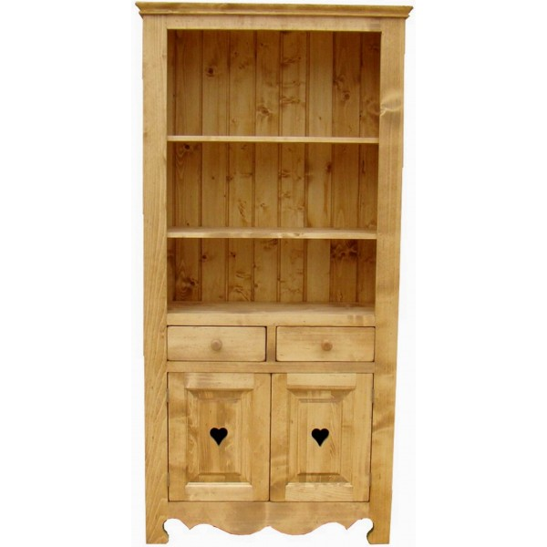 biblioth que 2 portes 2 tiroirs pin c ur de montagne. Black Bedroom Furniture Sets. Home Design Ideas