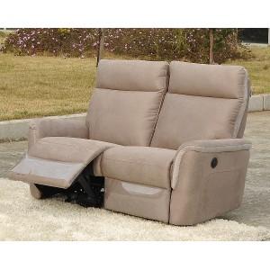 Canapé 2 places tissu beige et blanc relax électrique