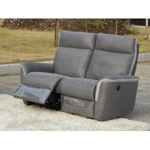Canapé 2 places relax électrique tissu gris et argent