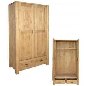 Armoire penderie 2 portes 2 tiroirs en pin  - Scandinavia
