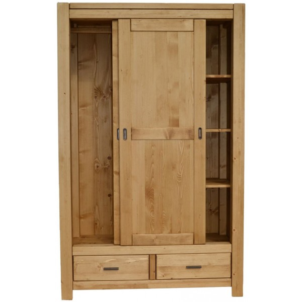 armoire 2 portes coulissantes 2 tiroirs. Black Bedroom Furniture Sets. Home Design Ideas