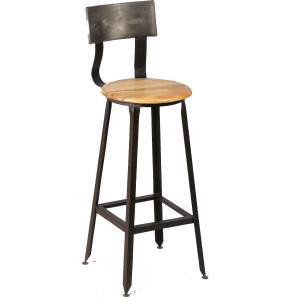 Chaise haute industriel en bois et acier
