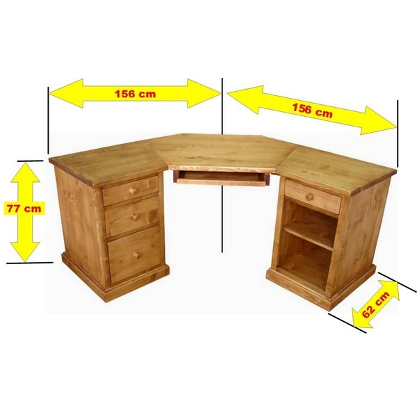 Bureau d 39 angle informatique collection val thorens - Bureau d ordinateur d angle ...