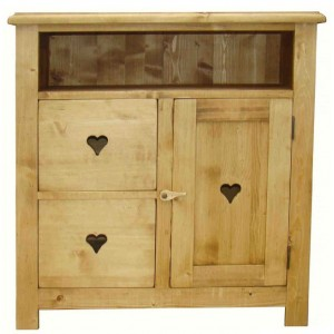 Commode TV en pin 2 tiroirs 1 porte 1 niche - Valloire
