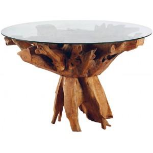 Table ronde racine de teck dessus verre - Roots Casita