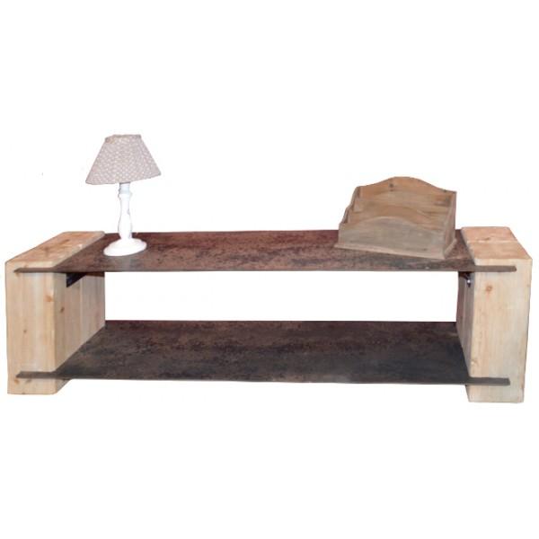 meuble tv sapin naturel et m tal vieilli acty asita. Black Bedroom Furniture Sets. Home Design Ideas