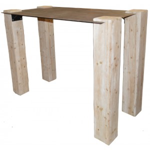 Table haute rectangulaire sapin et métal - Acty Casita