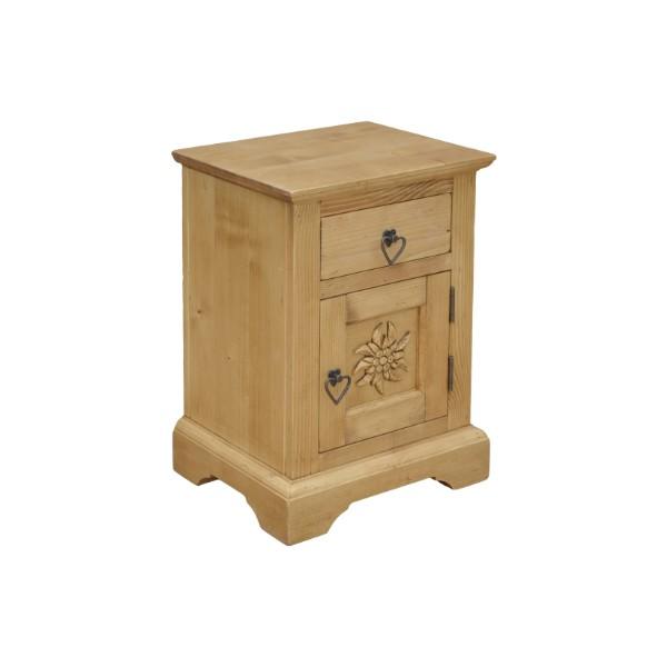 chevet pin sculpt 1 porte 1 tiroir esprit chalet. Black Bedroom Furniture Sets. Home Design Ideas