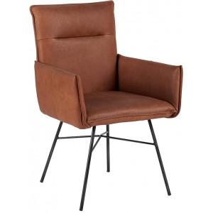 Chaise avec accoudoirs en cuir havane