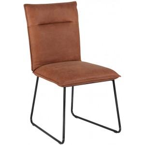 Chaise cuir havane et métal - Casita