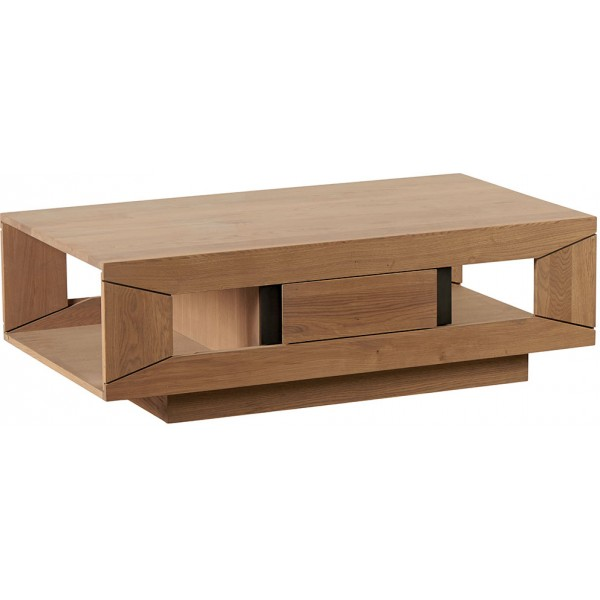 Table basse ch ne double plateau 1 tiroir dark casita - Table basse chene clair massif ...