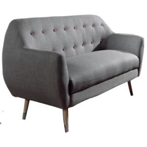 Canapé 2 places gris détails fuchsia - Grimsby Sofacasa