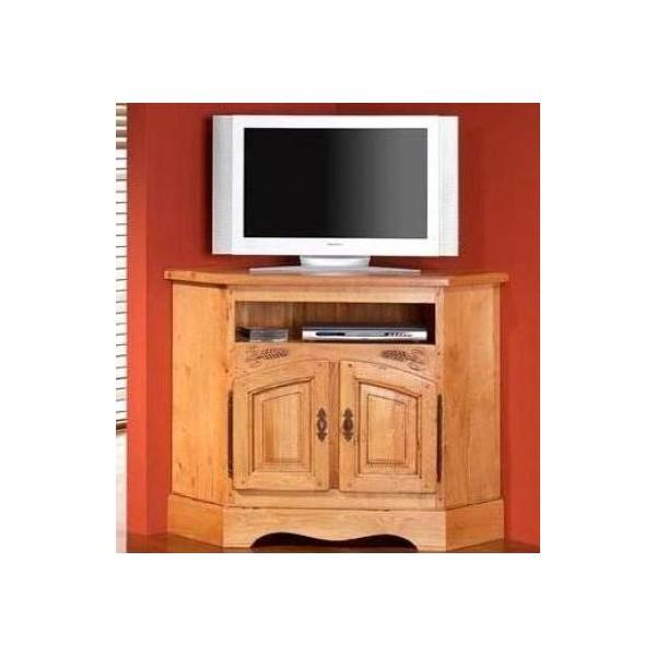 Meuble tv d 39 angle sculpt en ch ne massif ard che zagas - Meuble tv angle chene ...