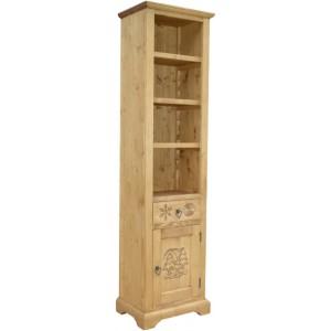 Colonne bibliothèque 1 porte 1 tiroir - Esprit Chalet